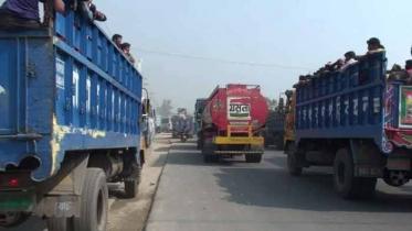 ঢাকা-টাঙ্গাইল মহাসড়কে যানবাহন চলছে থেমে থেমে