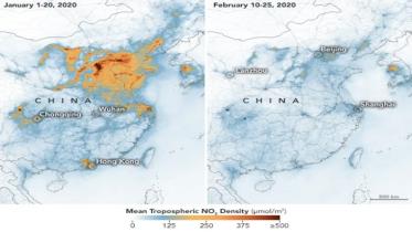 করোনা ভাইরাসের কারণে চীনে যেভাবে দূষণ কমেছে