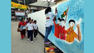 শিক্ষার্থীদের রঙ-তুলিতে ভাষা আন্দোলন থেকে মুক্তিযুদ্ধ