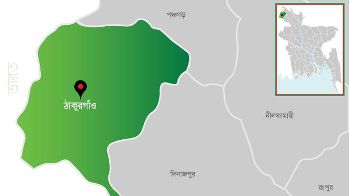 ঠাকুরগাঁও জেলার ম্যাপ।