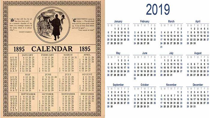 ২০১৯ এর ক্যালেন্ডার একদমই ১৮৯৫ এর মতো!