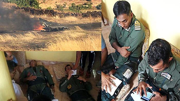 বিধ্বস্ত ভারতীয় যুদ্ধবিমান ও আহত পাইলট