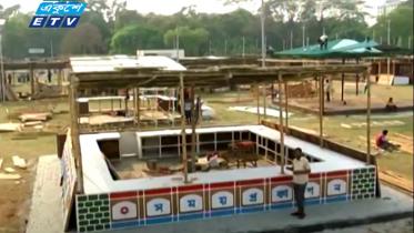 স্বাস্থ্যবিধি মেনে বইমেলা, চলছে স্টল-প্যাভিলিয়ন নির্মাণ (ভিডিও)