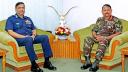 নৌ ও বিমান বাহিনী প্রধানের সাথে সেনা প্রধানের বিদায়ী সাক্ষাৎ