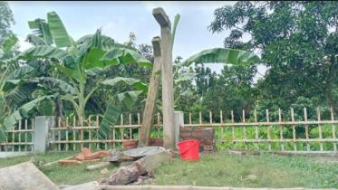 বাগাতিপাড়ায় নির্মাণকাজ শেষ হওয়ার আগেই ভেঙ্গে পড়েছে শহীদ মিনার