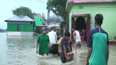 সুনামগঞ্জে পানি বৃদ্ধি অব্যাহত, নিম্নাঞ্চল প্লাবিত